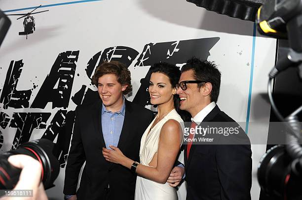 Christopher Schwarzenegger actors Jaimie Alexander and Johnny Knoxville arrive at the premiere of Lionsgate Films' The Last Stand at Grauman's...