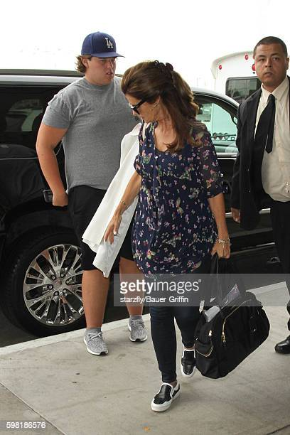Christopher Schwarzenegger and Maria Shriver are seen at LAX on August 31 2016 in Los Angeles California