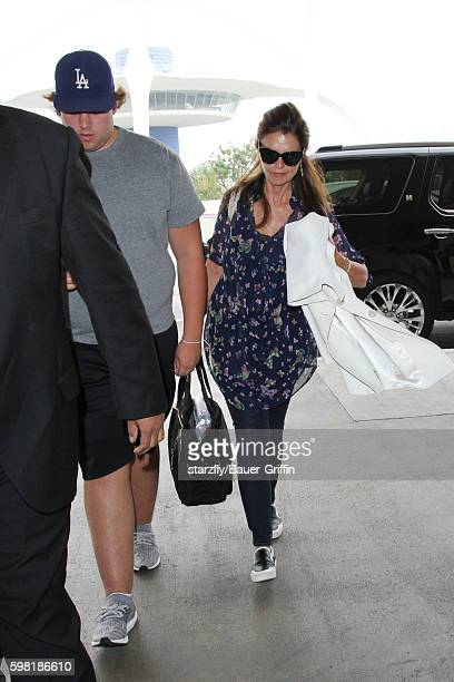 Christopher Schwarzenegger and Maria Shriver are seen at LAX on August 31, 2016 in Los Angeles, California.