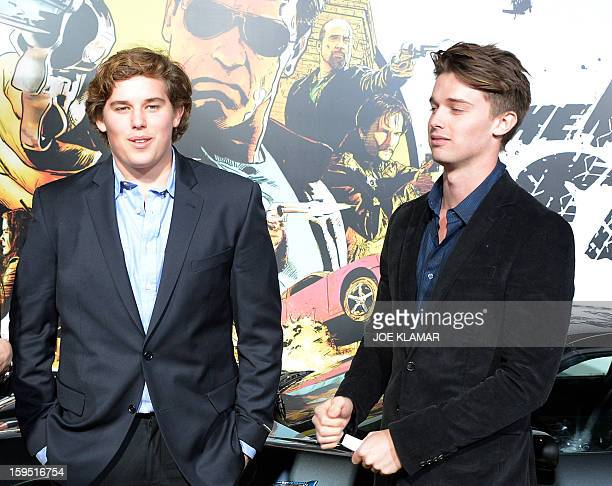 Christopher Schwarzenegger and Patrick Schwarzenegger arive at The World Premiere Of Lionsgate 'The Last Stand' held at Grauman's Chinese Theatre on...