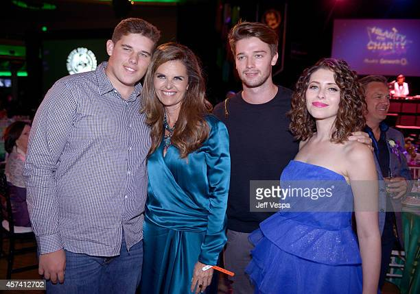Christopher Schwarzenegger, Maria Shriver, Patrick Schwarzenegger and Lauren Miller Rogen attend the 3rd Annual Hilarity for Charity Variety Show to...