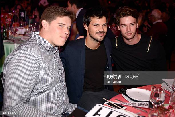 Christopher Schwarzenegger, Taylor Lautner and Patrick Schwarzenegger attend the 3rd Annual Hilarity for Charity Variety Show to benefit the...