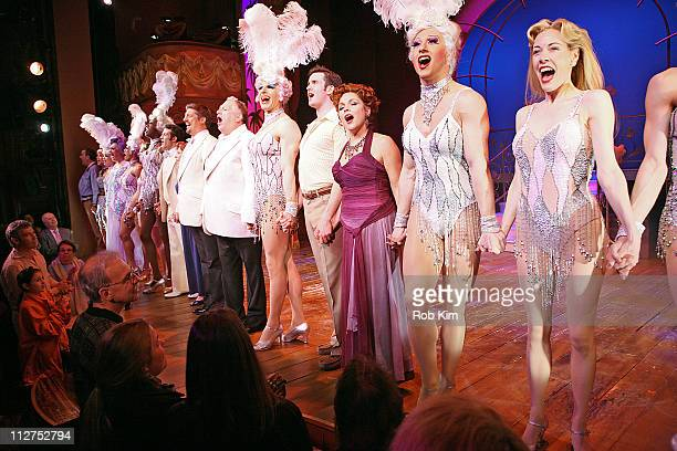 Christopher Sieber and Harvey Fierstein with cast attend the 'La Cage Aux Folles' Broadway revival one year anniversary at the Longacre Theatre on...