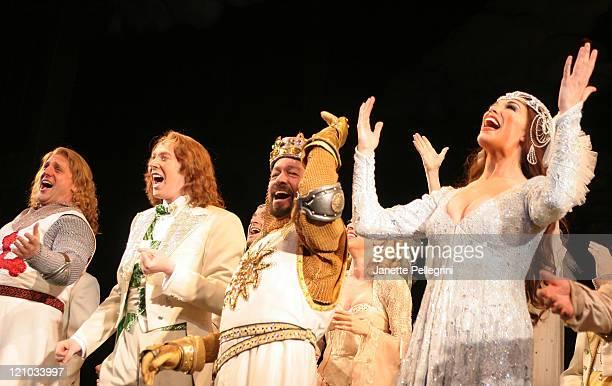 Christopher Sieber Clay Aiken Jonathan Hadary and Hannah Waddingham attend Curtain Call at Clay Aiken and Hannah Waddingham Broadway Debut in Monty...