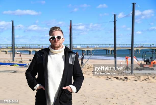 Christopher Spencer, aka: Cold War Steve poses on Boscombe beach on September 25, 2020 in Bournemouth, England. The satirical artist Cold War Steve...