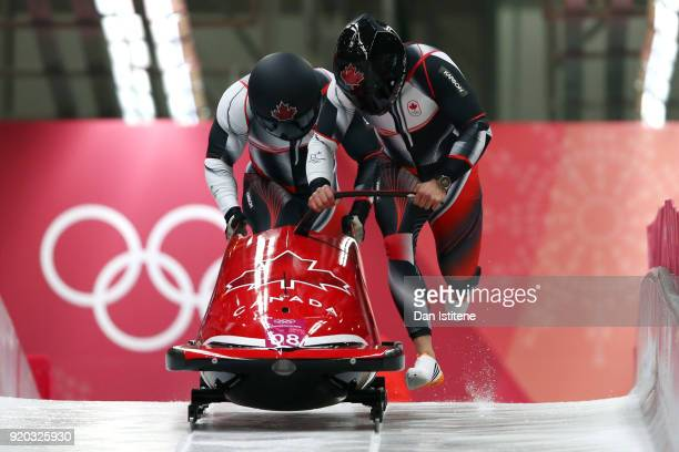 Christopher Spring and Lascelles Brown of Canada slide during twoman Bobsleigh heats on day nine of the PyeongChang 2018 Winter Olympic Games at...