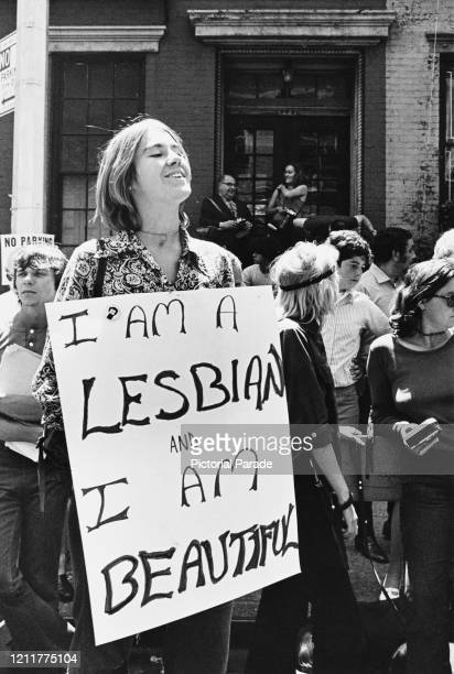 Christopher Street Liberation Day: an unidentified woman holds a large sign that reads 'I am a lesbian and I am beautiful' during the first Stonewall...
