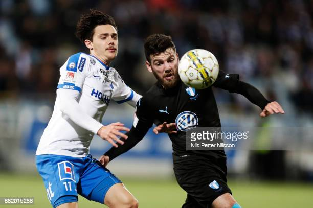 Christopher Telo of IFK Norrkoping and Erdal Rakip of Malmo FF competes for the ball during the Allsvenskan match between IFK Norrkoping and Malmo FF...