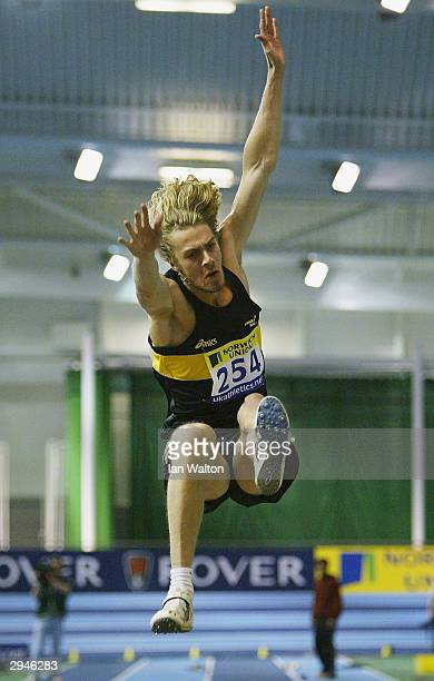 Christopher Tomlinson of England in action in the Mans long jump final during the Norwich Union World Indoor Athletics Trials at the English Institue...