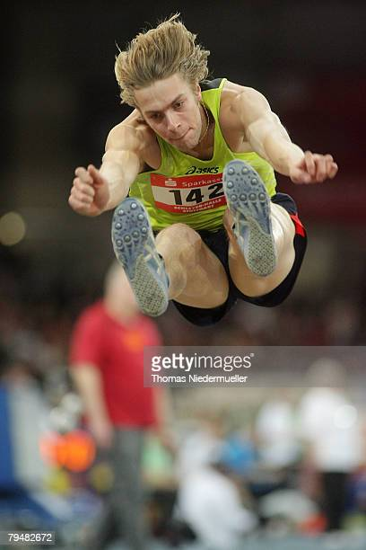 Christopher Tomlinson of Great Britain in action at the long jump competition during the Sparkassen Cup 2008 at the Hanns-Martin Schleyer Hall on...