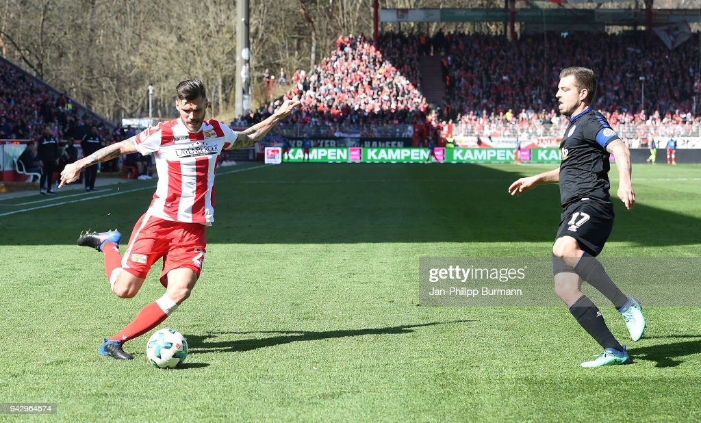 Christopher Trimmel of 1 FC. Union Berlin and Kevin Wolze of MSV Duisburg during the 2nd Bundesliga game between Union Berlin and MSV Duisburg at Stadion an der alten Foersterei on April 7, 2018 in Berlin, Germany.