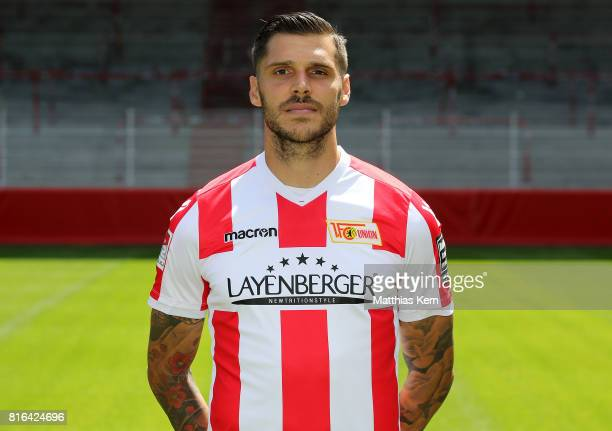 Christopher Trimmel of 1 FC Union Berlin poses during the team presentation at Stadion an der Alten Foersterei on July 17 2017 in Berlin Germany