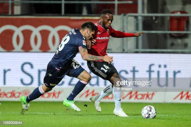 Christopher Trimmel of Union Berlin and Osayamen Osawe of FC Ingolstadt battle for the ball during the Second Bundesliga match between FC Ingolstadt...