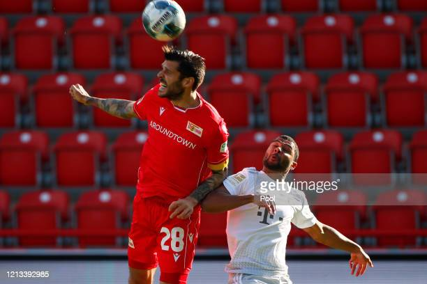 Christopher Trimmel of Union Berlin in action with Serge Gnabry of Bayern Munich during the Bundesliga match between 1. FC Union Berlin and FC Bayern...