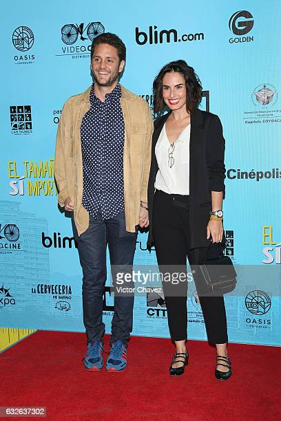 Christopher Uckermann and Ana Serradilla attend the 'El Tamano Si Importa' Mexico City premiere red carpet at Cinepolis Oasis Coyoacan on January 24...