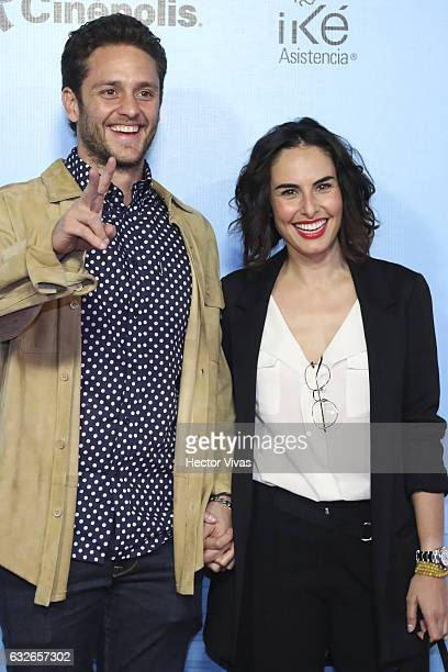 Christopher Uckermann and Ana Serradilla smile during the red carpet of the Mexican movie 'El Tama–ño Si Importa' at Cinepolis Oasis Square on...