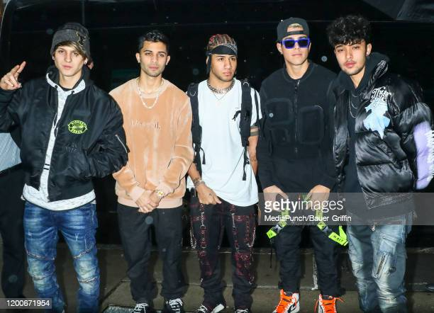 Christopher Velez, Erick Brian Colon, Richard Camacho, Zabdiel De Jesus and Joel Pimentel De Leon of music band 'CNCO' are seen on February 13, 2020...