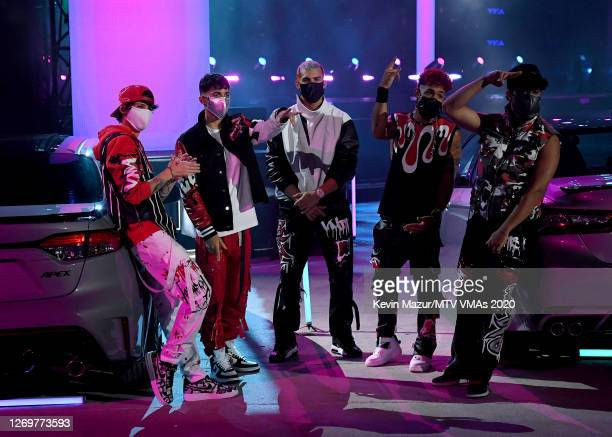Christopher Velez, Erick Brian Colon, Zabdiel De Jesus, Richard Camacho, and Joel Pimentel of CNCO perform during the 2020 MTV Video Music Awards at...
