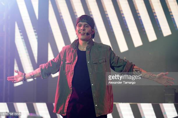 Christopher Velez of the musical group CNCO is seen performing on stage during Billboard En Vivo at The Temple House on September 12, 2019 in Miami...