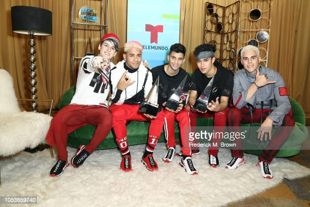 Christopher Velez, Richard Camacho, Erick Brian Colon, Joel Pimentel, and Zabdiel de Jesus of CNCO, winners of the Favorite Pop Artist award; the...