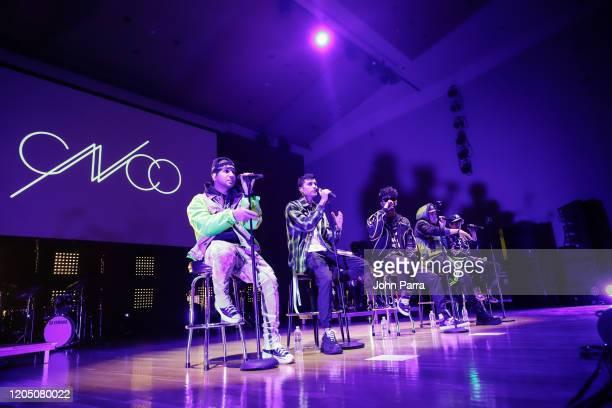 Christopher Velez Richard Camacho Zabdiel De Jesus Joel Pimentel De Leon and Erick Brian Colon of CNCO perform during a benefit concert presented by...