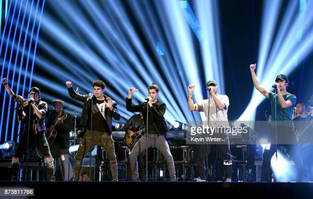 Christopher Velez Zabdiel de Jesus Erick Brian Colon Richard Camacho and Joel Pimentel of CNCO perform onstage during rehearsals for the 18th annual...
