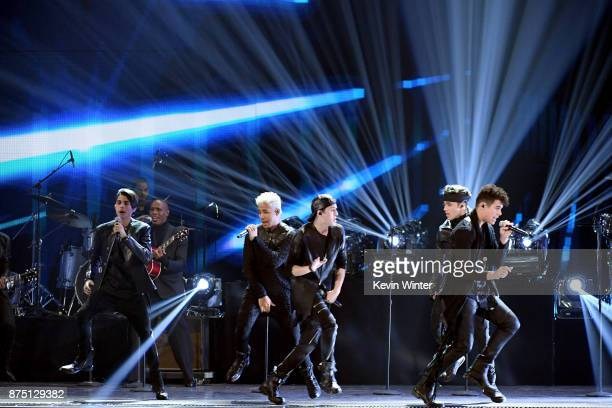 Christopher Velez Zabdiel De Jesus Erick Colon Richard Camacho and Joel Pimentel of CNCO perform onstage at the 18th Annual Latin Grammy Awards at...