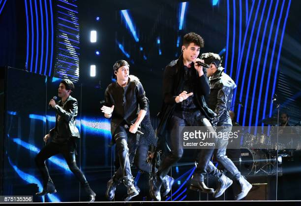 Christopher Velez Zabdiel De Jesus Erick Colon Richard Camacho Joel Pimentel of CNCO perform onstage during The 18th Annual Latin Grammy Awards at...
