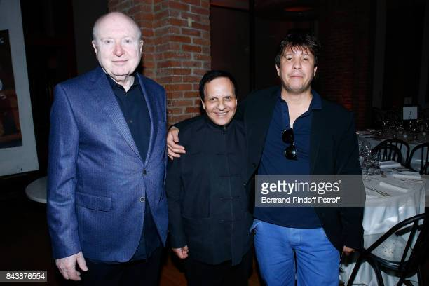 Christopher von Weyhe stylist Azzedine Alaia and artist Adel Abdessemed attend the 'Richard Wentworth a la Maison Alaia' Exhibition Opening at...