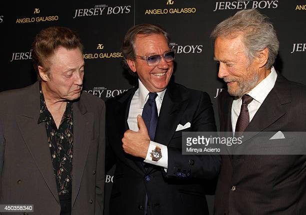 Christopher Walken Angelo Galasso and Clint Eastwood attend the 'Jersey Boys' Special Screening dinner at Angelo Galasso House on June 9 2014 in New...