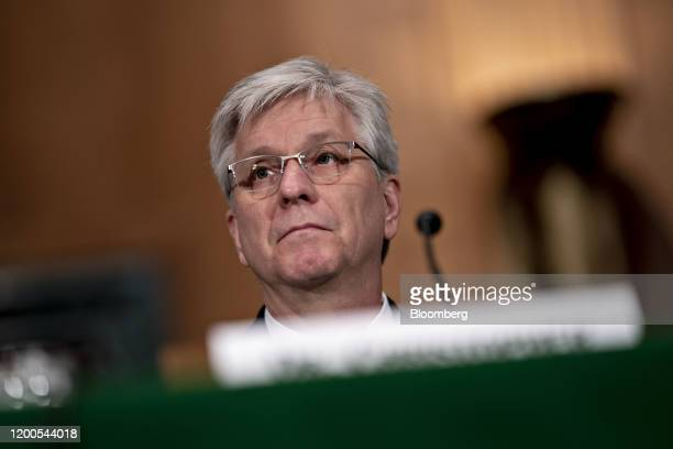 Christopher Waller US President Donald Trump's nominee for governor of the Federal Reserve listens during a Senate Banking Committee confirmation...