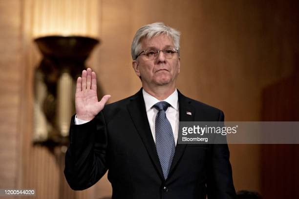Christopher Waller US President Donald Trump's nominee for governor of the Federal Reserve swears in to a Senate Banking Committee confirmation...