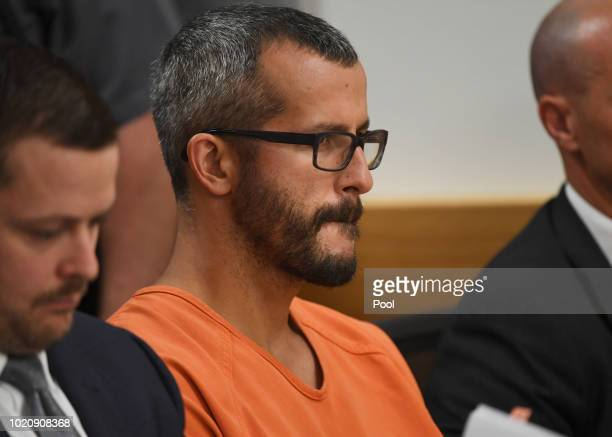 Christopher Watts is in court for his arraignment hearing at the Weld County Courthouse on August 21 2018 in Greeley Colorado Watts faces nine...