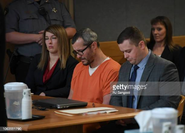 Christopher Watts sits in court for his sentencing hearing at the Weld County Courthouse on November 19 2018 in Greeley Colorado Watts was sentenced...