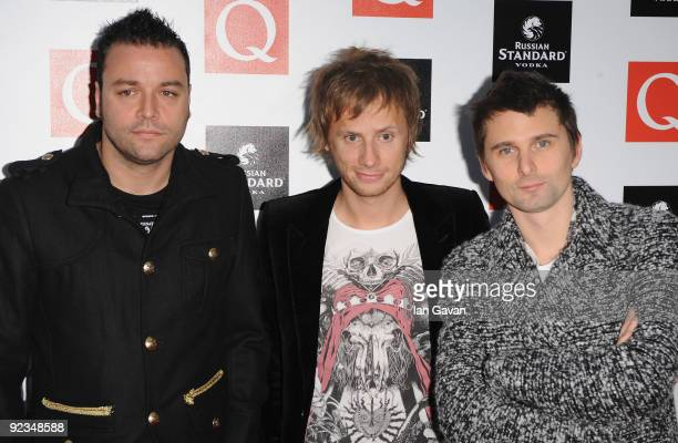 Christopher Wolstenholme Dominic Howard and matthew Bellamy from Muse attend the Q Awards 2009 at the Grosvenor House Hotel on October 26 2009 in...