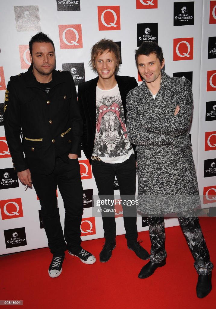 Christopher Wolstenholme, Dominic Howard and matthew Bellamy from Muse attend the Q Awards 2009 at the Grosvenor House Hotel on October 26, 2009 in London, England.