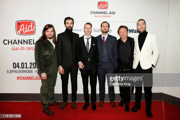 Christopher Wood Kyle Simmons Will Farquarson Kristjan Jaervi Dan Smith Band Bastille and guest during the Channel Aid Live in concert at...