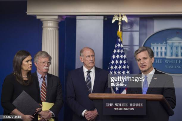 Christopher Wray director of the Federal Bureau of Investigation speaks during a White House press briefing in Washington DC US on Thursday Aug 2...