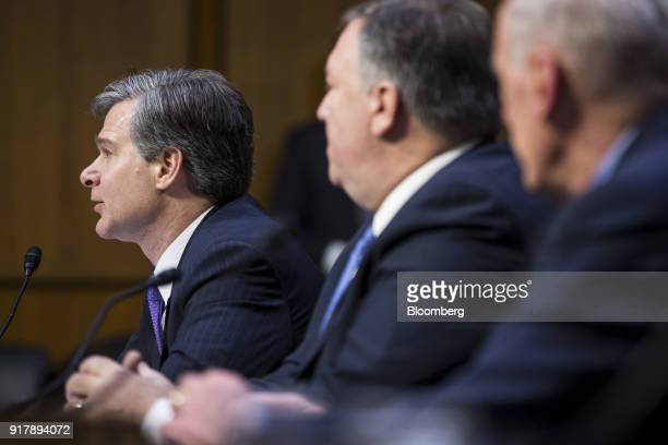 Christopher Wray director of the Federal Bureau of Investigation testifies during a Senate Intelligence Committee hearing on worldwide threats in...
