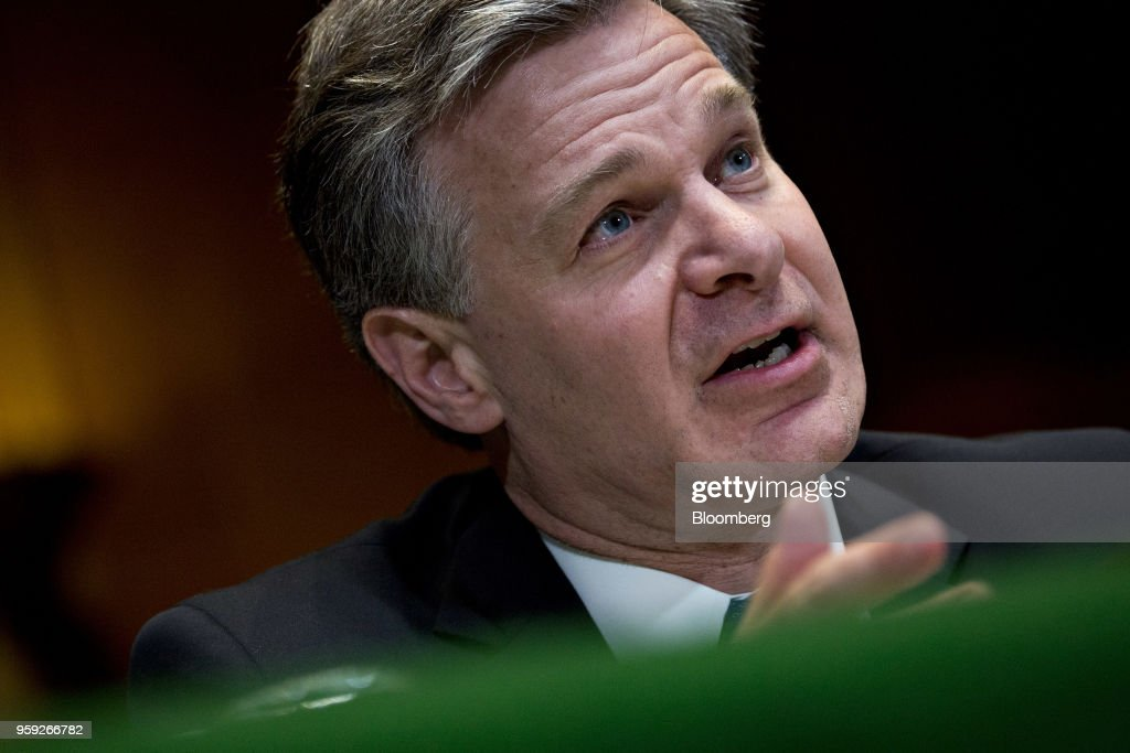 Christopher Wray, director of the Federal Bureau of Investigation (FBI), speaks during a Senate Appropriations Subcommittee hearing in Washington, D.C., U.S., on Wednesday, May 16, 2018. The Subcommittee on Commerce, Justice, Science is reviewing the fiscal year 2019 budget request for the FBI. Photographer: Andrew Harrer/Bloomberg via Getty Images