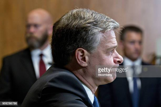 Christopher Wray director of the Federal Bureau of Investigation listens during a Senate Appropriations Subcommittee hearing in Washington DC US on...