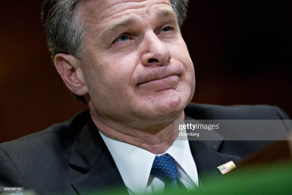 Christopher Wray, director of the Federal Bureau of Investigation (FBI), listens during a Senate Appropriations Subcommittee hearing in Washington, D.C., U.S., on Wednesday, May 16, 2018. The Subcommittee on Commerce, Justice, Science is reviewing the fiscal year 2019 budget request for the FBI. Photographer: Andrew Harrer/Bloomberg via Getty Images