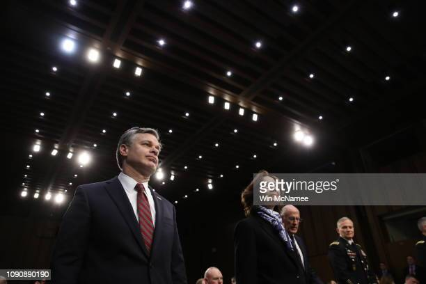 Christopher Wray director of the Federal Bureau of Investigation and Central Intelligence Agency Director Gina Haspel arrive for a Senate...