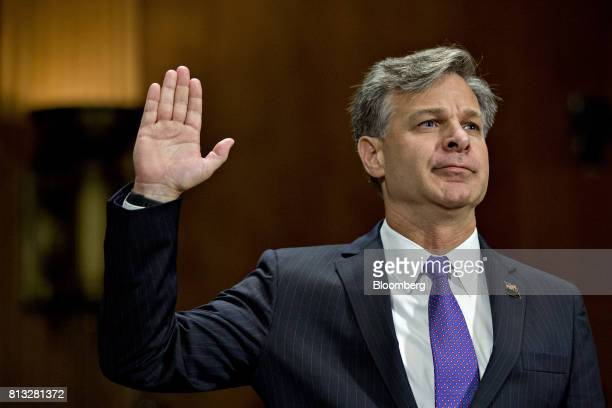 Christopher Wray director of the Federal Bureau of Investigation nominee for US President Donald Trump swears in to a Senate Judiciary Committee...