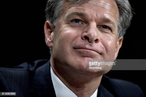 Christopher Wray director of the Federal Bureau of Investigation nominee for US President Donald Trump listens during a Senate Judiciary Committee...
