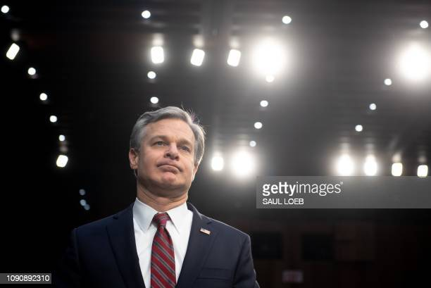 Christopher Wray director of the Federal Bureau of Investigation arrives to testify on Worldwide Threats during a Senate Select Committee on...