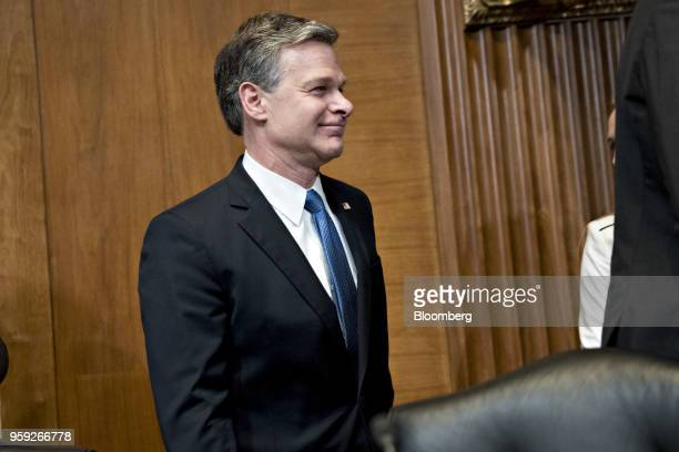 Christopher Wray director of the Federal Bureau of Investigation arrives to a Senate Appropriations Subcommittee hearing in Washington DC US on...