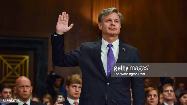 Christopher Wray is sworn in to face a confirmation hearing before the Senate Judiciary Committee on his nomination to become the FBIs eighth...