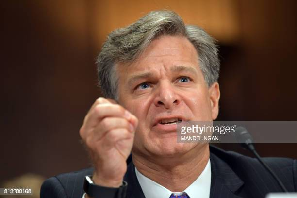 Christopher Wray testifies before the Senate Judiciary Committee on his nomination to be the director of the Federal Bureau of Investigation in the...