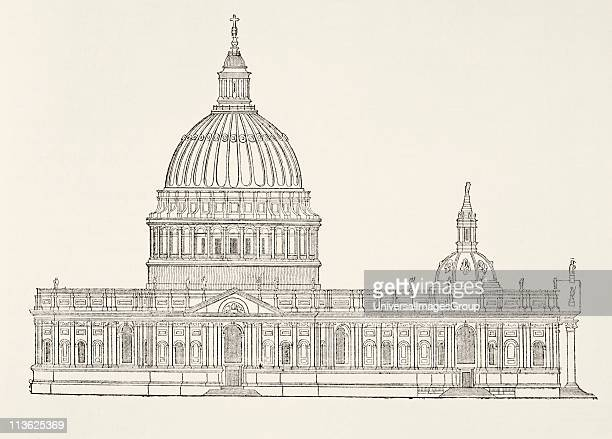 Christopher Wren´s first design for the new St Paul's Cathedral after the Great Fire of London From The National and Domestic History of England by...
